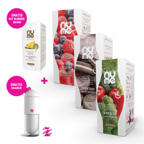 Spar paket: Winter Fit Paket - ALL IN ONE Slim Shakes, Slim Suppe, Slim Riegeln + GRATIS Shaker + GRATIS Water Drainer Drink