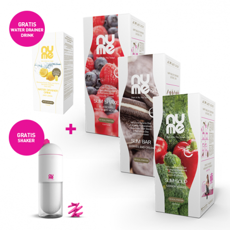 Spar paket: Sommer Fit Paket - ALL IN ONE Slim Shakes, Slim Suppe, Slim Riegeln + GRATIS Shaker + GRATIS Water Drainer Drink